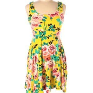 Monteau Stretchy Yellow Floral Tank Dress